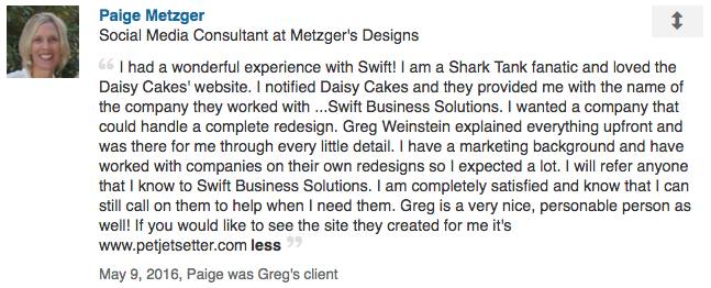 Swift Business Solutions | Client Testimonial | LinkedIn