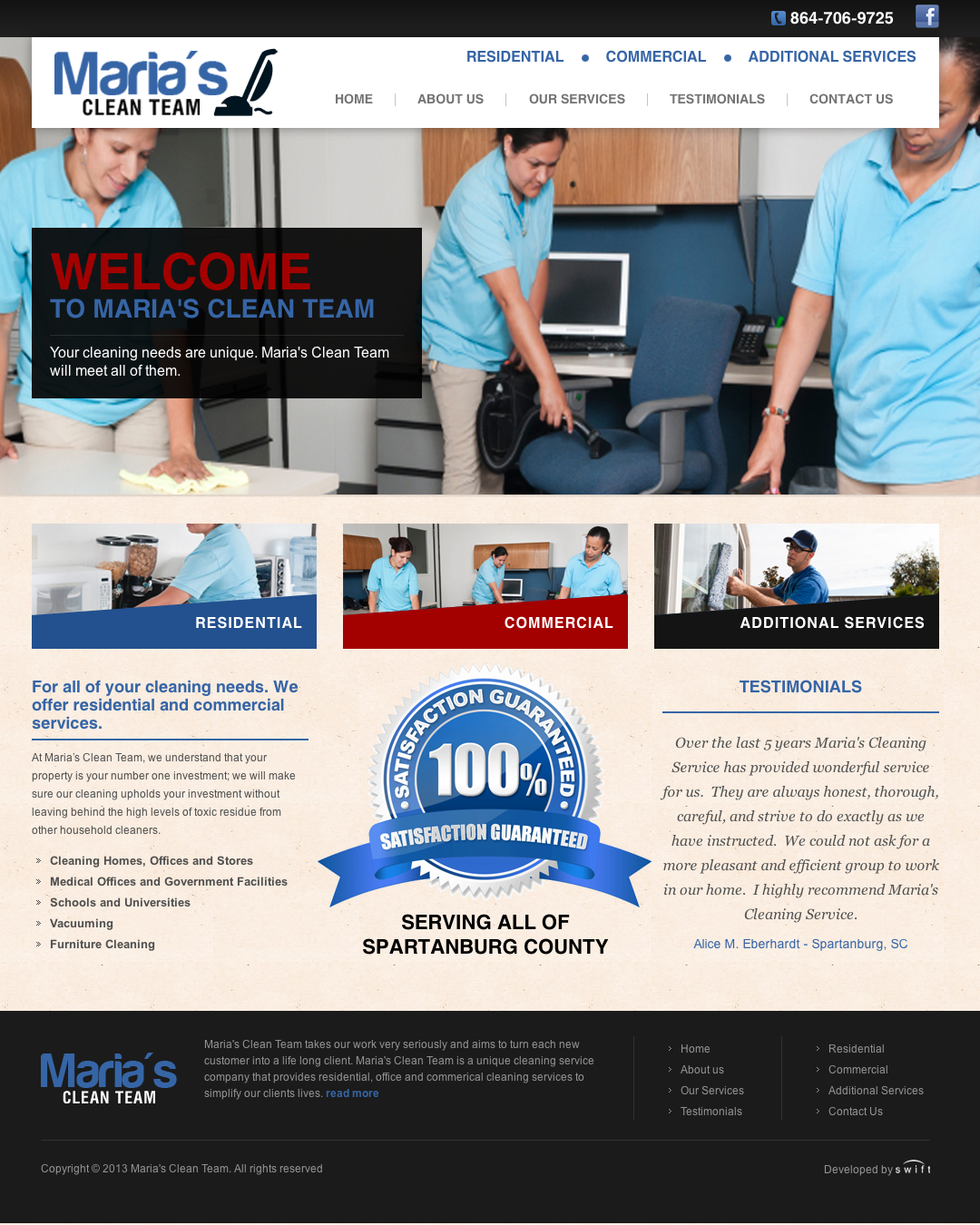 Swift Business Solutions Launches Maria's Clean Team Website